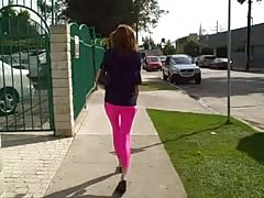 Just spotted an awesome amateur cutie in pink Spandex