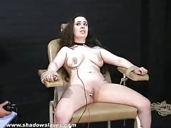 Merciless electro torture of chubby Nimue Allen in crying bondage