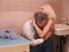 Skinny Russian slut fucked by a very old man in kitchen