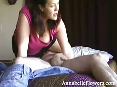 Cock-addicted Annabelle Flowers is swallowing a huge wiener