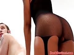 BDSM ebony pegging her pathetic sub