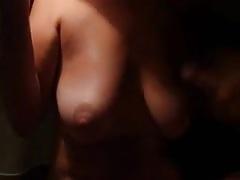 Cumming on her nice Boobs