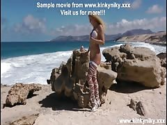 KinkyNiky anal toy fuck and prolapse at public beach!!!