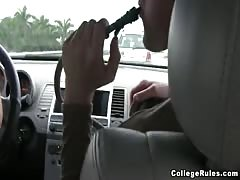 Sex in the car with a fabulous brunette who gives the best blowjobs