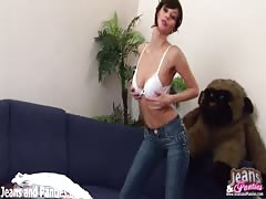 Petite Kriss slipping out of her skinny jeans