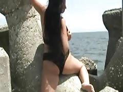 beach big boobs girl