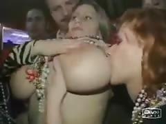 Busty Girl Flashing on Mardi Gras