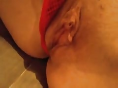 Cock-addicted chick is showing off her shaved pussy