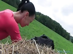 Awesome brunette is being fucked at the hayloft after getting payed